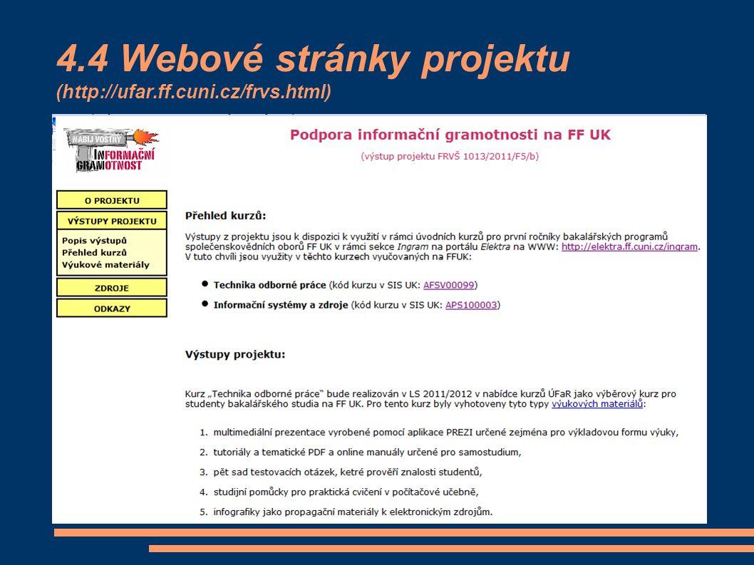 4.4 Webové stránky projektu (http://ufar.ff.cuni.cz/frvs.html)