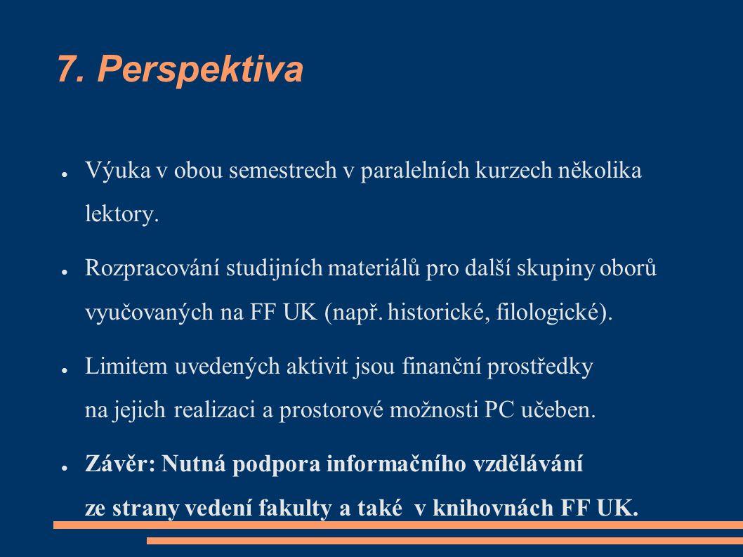 7. Perspektiva ● Výuka v obou semestrech v paralelních kurzech několika lektory. ● Rozpracování studijních materiálů pro další skupiny oborů vyučovaný
