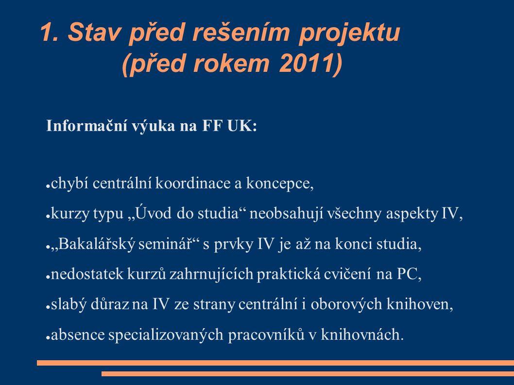 """1. Stav před rešením projektu (před rokem 2011) Informační výuka na FF UK: ● chybí centrální koordinace a koncepce, ● kurzy typu """"Úvod do studia"""" neob"""