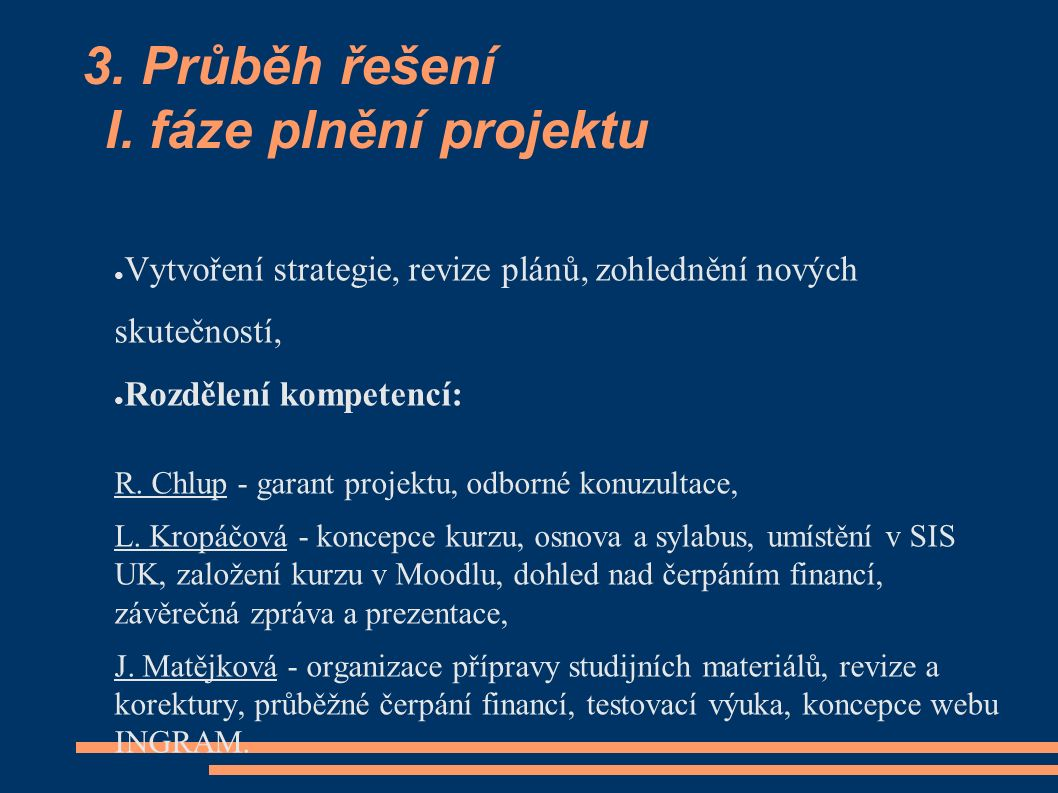 3. Průběh řešení I. fáze plnění projektu ● Vytvoření strategie, revize plánů, zohlednění nových skutečností, ● Rozdělení kompetencí: R. Chlup - garant