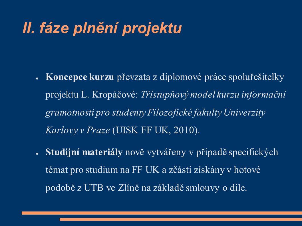 II. fáze plnění projektu ● Koncepce kurzu převzata z diplomové práce spoluřešitelky projektu L. Kropáčové: Třístupňový model kurzu informační gramotno