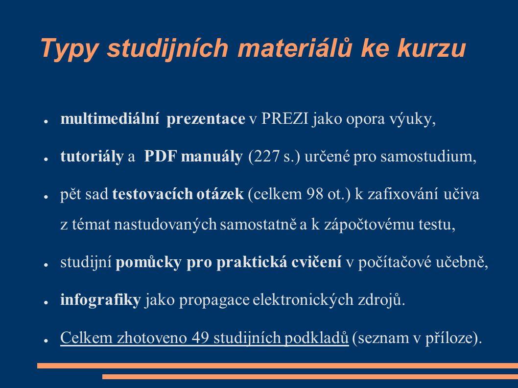 Typy studijních materiálů ke kurzu ● multimediální prezentace v PREZI jako opora výuky, ● tutoriály a PDF manuály (227 s.) určené pro samostudium, ● p
