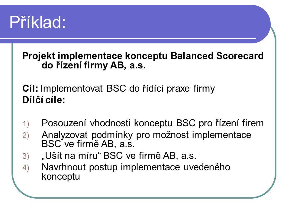 Příklad: Projekt implementace konceptu Balanced Scorecard do řízení firmy AB, a.s.