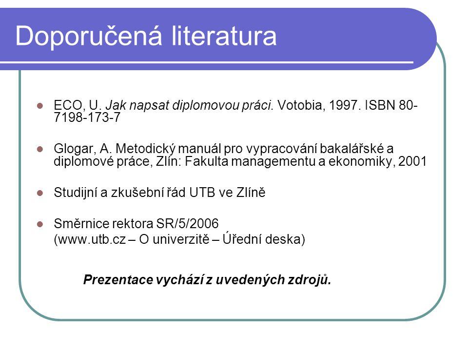 Doporučená literatura ECO, U. Jak napsat diplomovou práci.