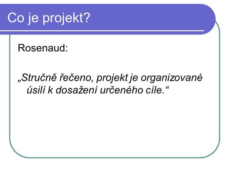 """Co je projekt Rosenaud: """"Stručně řečeno, projekt je organizované úsilí k dosažení určeného cíle."""