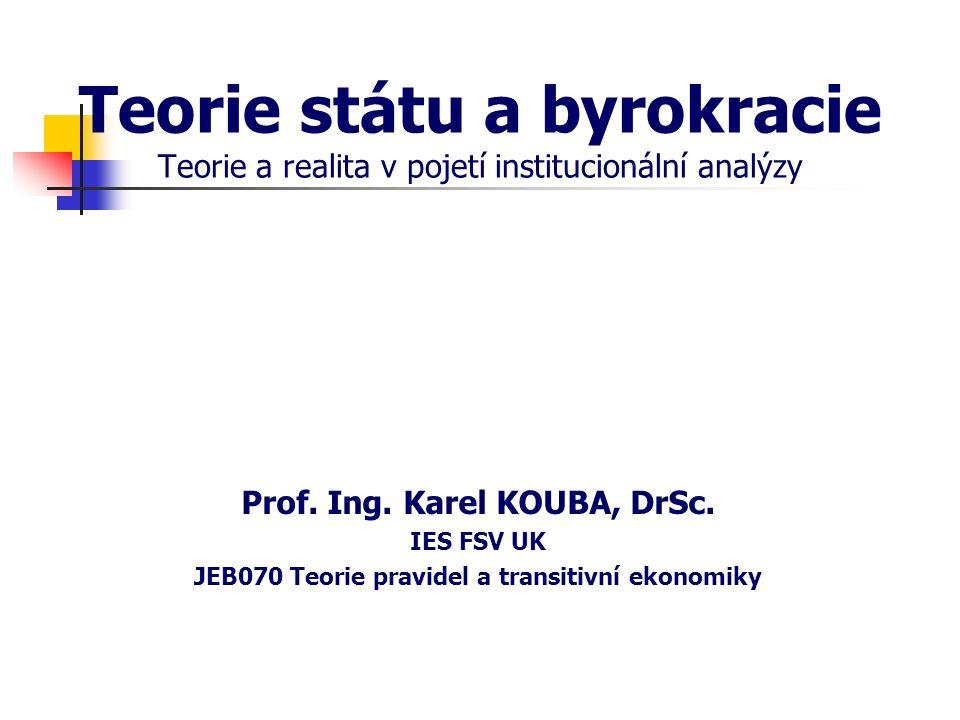Teorie státu a byrokracie Teorie a realita v pojetí institucionální analýzy Prof. Ing. Karel KOUBA, DrSc. IES FSV UK JEB070 Teorie pravidel a transiti