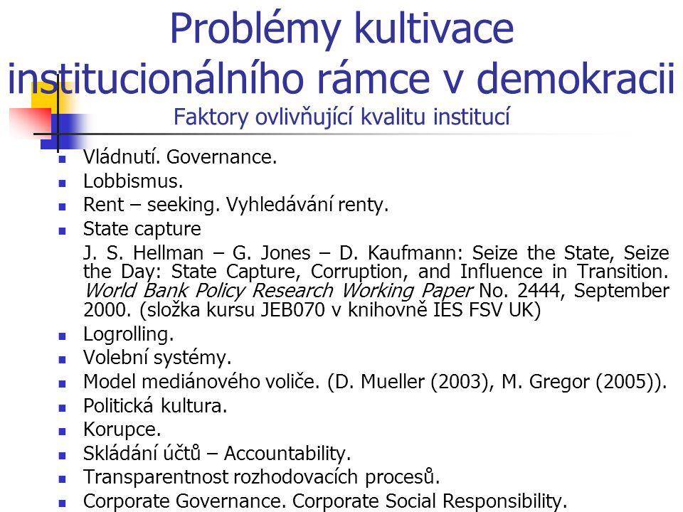 Problémy kultivace institucionálního rámce v demokracii Faktory ovlivňující kvalitu institucí Vládnutí. Governance. Lobbismus. Rent – seeking. Vyhledá