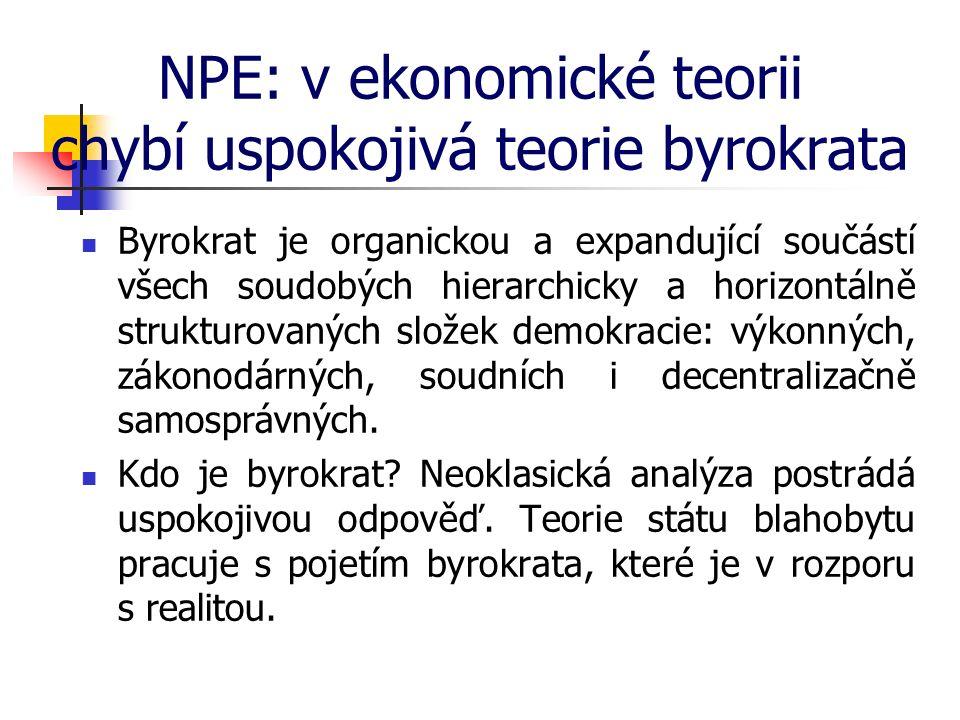 NPE: v ekonomické teorii chybí uspokojivá teorie byrokrata Byrokrat je organickou a expandující součástí všech soudobých hierarchicky a horizontálně strukturovaných složek demokracie: výkonných, zákonodárných, soudních i decentralizačně samosprávných.
