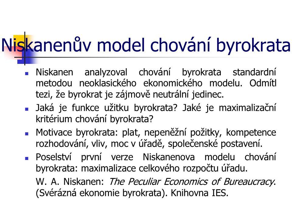 Niskanenův model chování byrokrata Niskanen analyzoval chování byrokrata standardní metodou neoklasického ekonomického modelu. Odmítl tezi, že byrokra