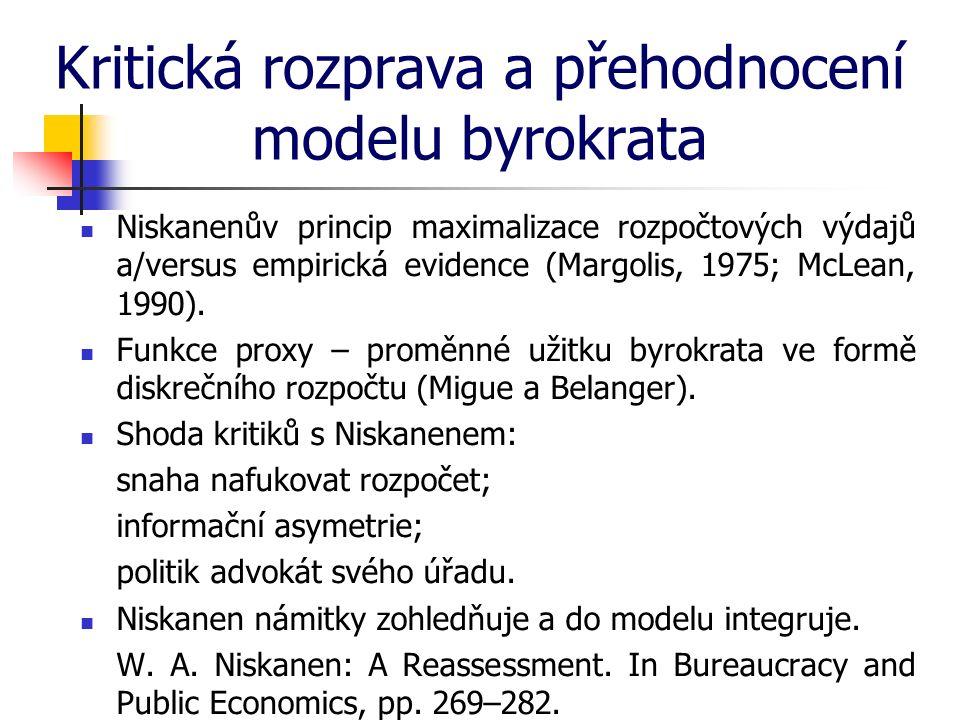 Kritická rozprava a přehodnocení modelu byrokrata Niskanenův princip maximalizace rozpočtových výdajů a/versus empirická evidence (Margolis, 1975; McLean, 1990).