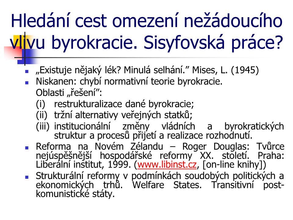 """Hledání cest omezení nežádoucího vlivu byrokracie. Sisyfovská práce? """"Existuje nějaký lék? Minulá selhání."""" Mises, L. (1945) Niskanen: chybí normativn"""