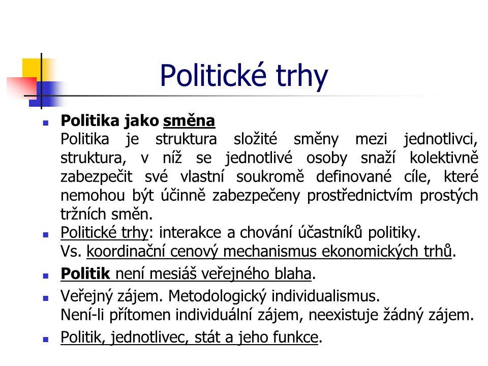 Politické trhy Politika jako směna Politika je struktura složité směny mezi jednotlivci, struktura, v níž se jednotlivé osoby snaží kolektivně zabezpe