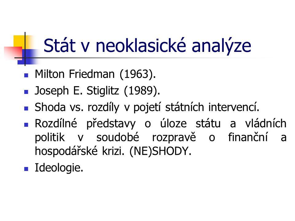 Stát v neoklasické analýze Milton Friedman (1963). Joseph E. Stiglitz (1989). Shoda vs. rozdíly v pojetí státních intervencí. Rozdílné představy o úlo