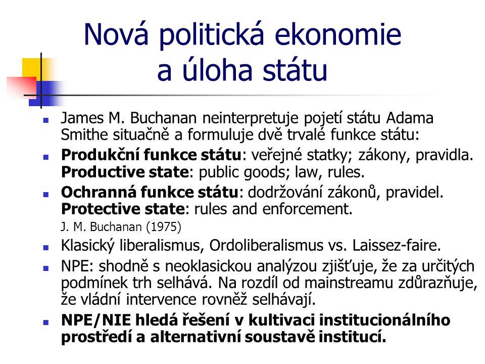 Nová politická ekonomie a úloha státu James M. Buchanan neinterpretuje pojetí státu Adama Smithe situačně a formuluje dvě trvalé funkce státu: Produkč