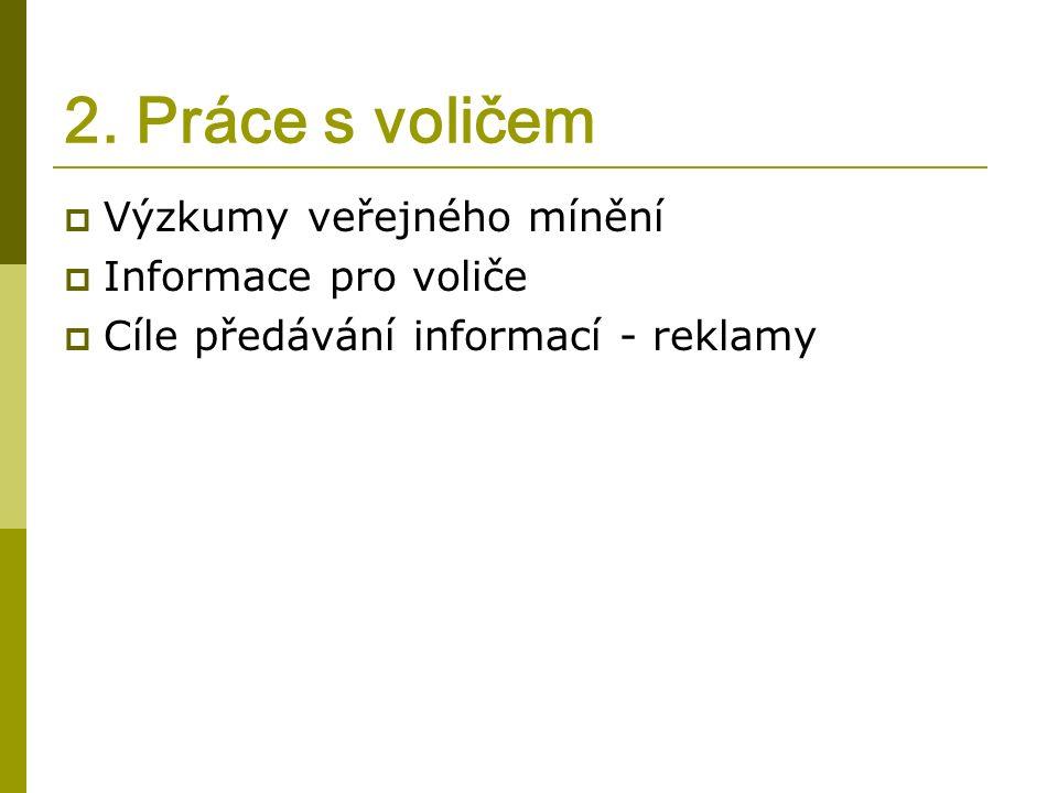 2. Práce s voličem  Výzkumy veřejného mínění  Informace pro voliče  Cíle předávání informací - reklamy