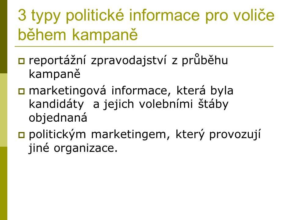 3 typy politické informace pro voliče během kampaně  reportážní zpravodajství z průběhu kampaně  marketingová informace, která byla kandidáty a jejich volebními štáby objednaná  politickým marketingem, který provozují jiné organizace.