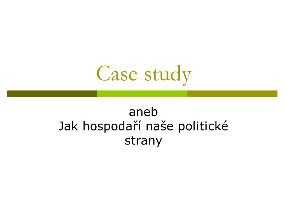 Case study aneb Jak hospodaří naše politické strany