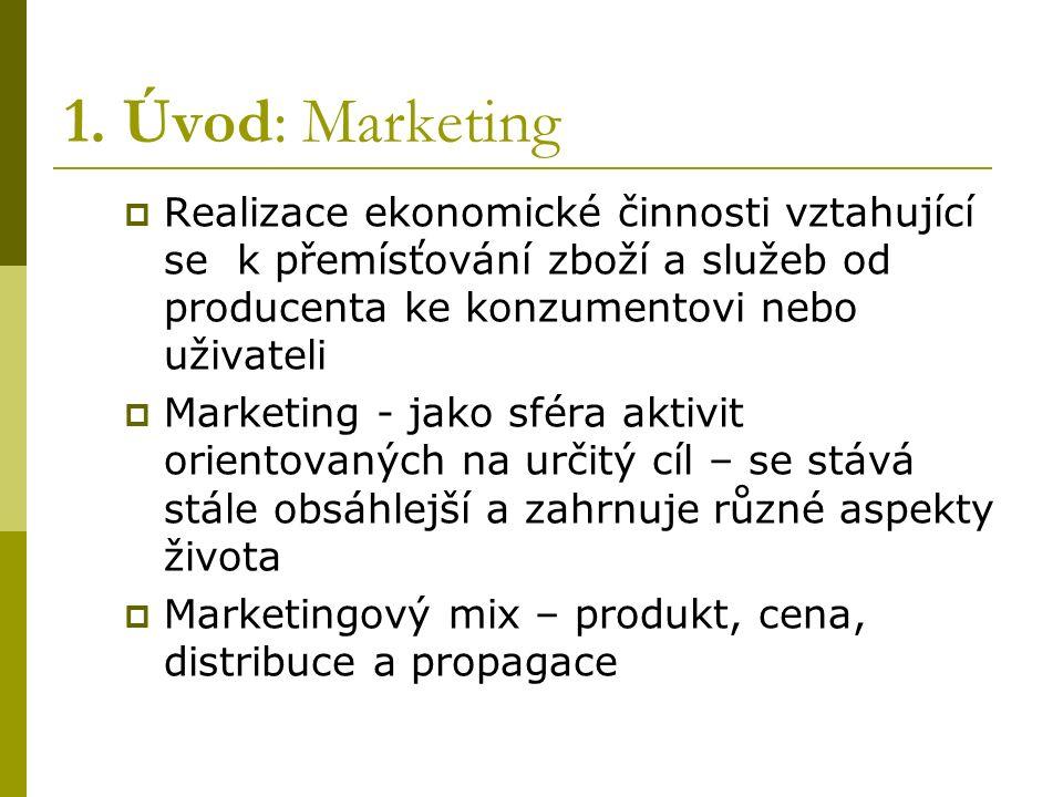 1. Úvod: Marketing  Realizace ekonomické činnosti vztahující se k přemísťování zboží a služeb od producenta ke konzumentovi nebo uživateli  Marketin