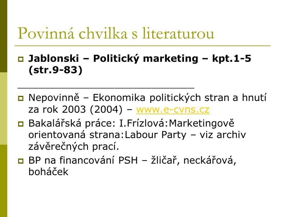 Povinná chvilka s literaturou  Jablonski – Politický marketing – kpt.1-5 (str.9-83) _____________________________  Nepovinně – Ekonomika politických stran a hnutí za rok 2003 (2004) – www.e-cvns.czwww.e-cvns.cz  Bakalářská práce: I.Frízlová:Marketingově orientovaná strana:Labour Party – viz archiv závěrečných prací.