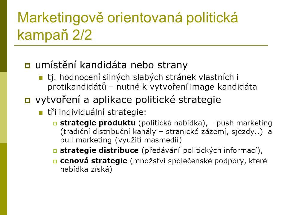Marketingově orientovaná politická kampaň 2/2  umístění kandidáta nebo strany tj.