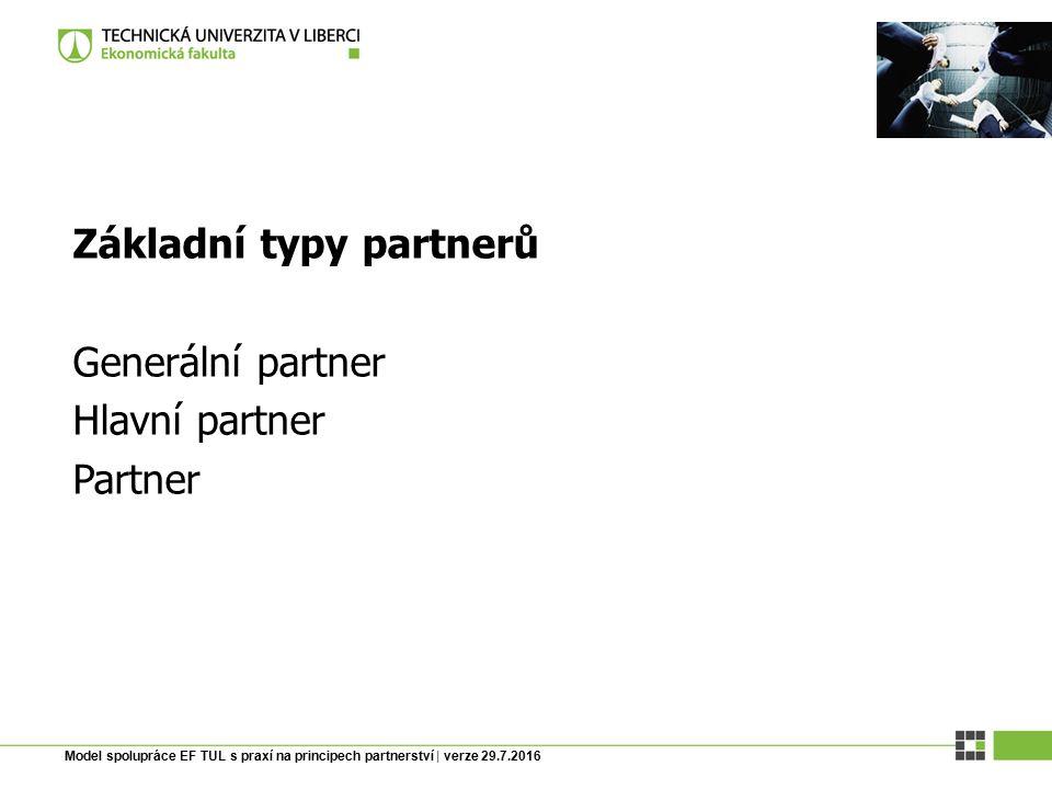 Model spolupráce EF TUL s praxí na principech partnerství | verze 29.7.2016 Základní předpoklady Smlouva je uzavírána většinou na dobu 1 roku.
