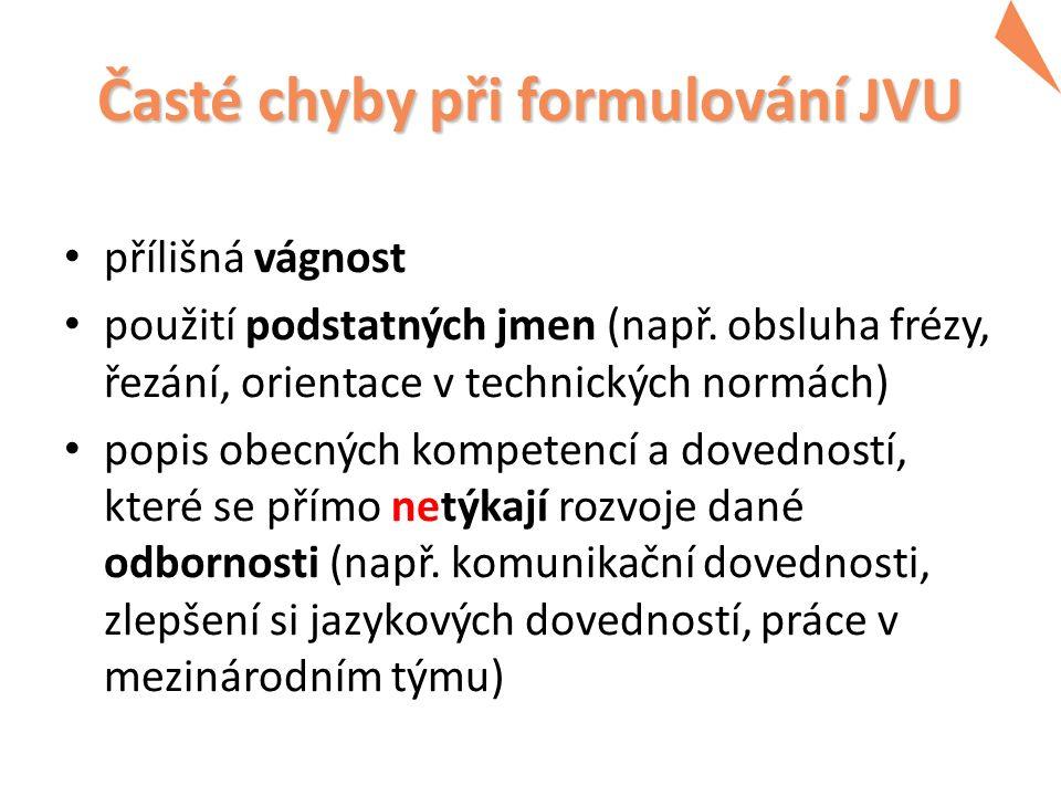 Časté chyby při formulování JVU přílišná vágnost použití podstatných jmen (např.