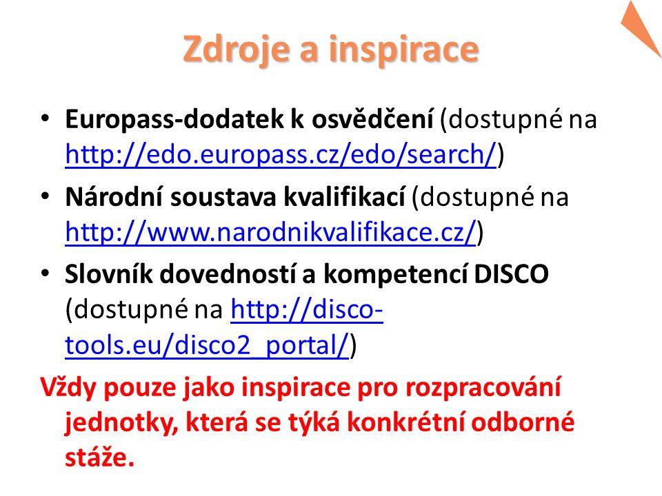 Zdroje a inspirace Europass-dodatek k osvědčení (dostupné na http://edo.europass.cz/edo/search/) http://edo.europass.cz/edo/search/ Národní soustava kvalifikací (dostupné na http://www.narodnikvalifikace.cz/) http://www.narodnikvalifikace.cz/ Slovník dovedností a kompetencí DISCO (dostupné na http://disco- tools.eu/disco2_portal/)http://disco- tools.eu/disco2_portal/ Vždy pouze jako inspirace pro rozpracování jednotky, která se týká konkrétní odborné stáže.