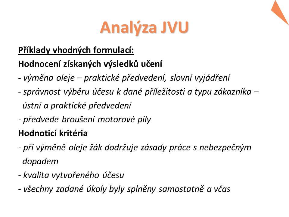Analýza JVU Příklady vhodných formulací: Hodnocení získaných výsledků učení - výměna oleje – praktické předvedení, slovní vyjádření - správnost výběru účesu k dané příležitosti a typu zákazníka – ústní a praktické předvedení - předvede broušení motorové pily Hodnoticí kritéria - při výměně oleje žák dodržuje zásady práce s nebezpečným dopadem - kvalita vytvořeného účesu - všechny zadané úkoly byly splněny samostatně a včas