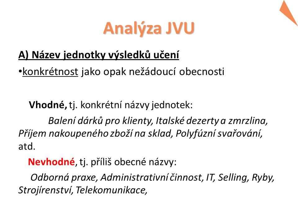 Analýza JVU Příklady nevhodných formulací: -provádí odbornou činnost -předvede praktický úkol -stupeň estetického cítění -hodnocení obsahové stránky semestrální práce -předat výstup z PC o vyrobených sortimentech