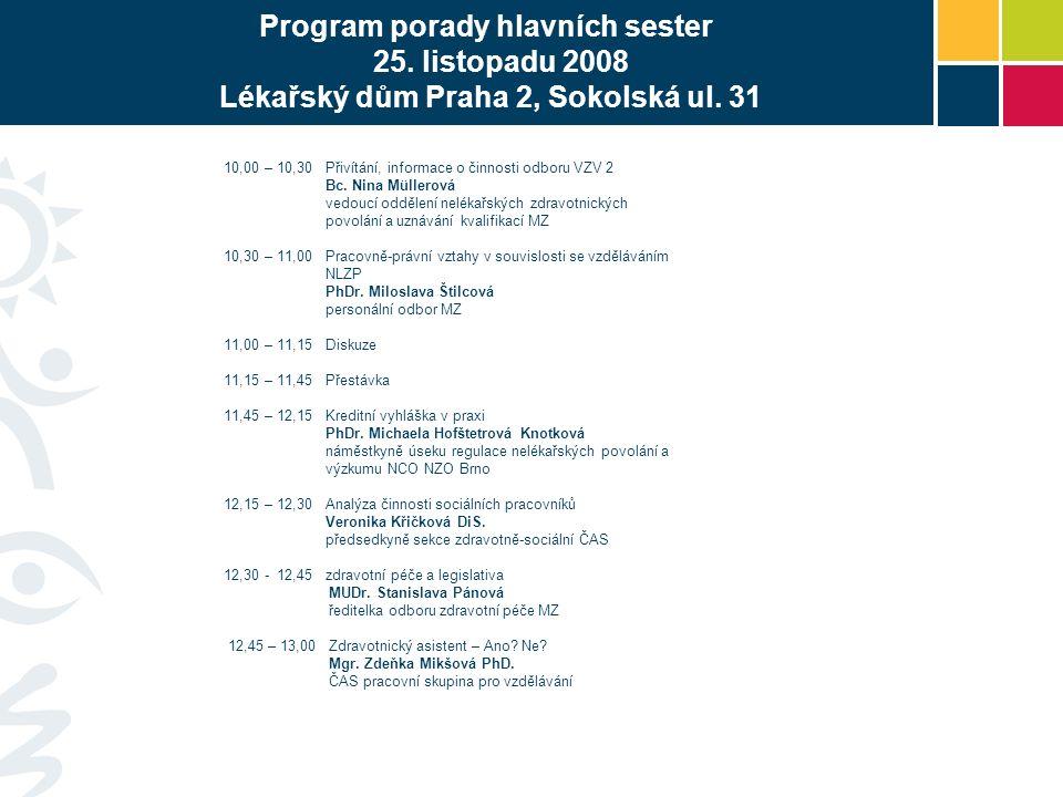 Program porady hlavních sester 25. listopadu 2008 Lékařský dům Praha 2, Sokolská ul.