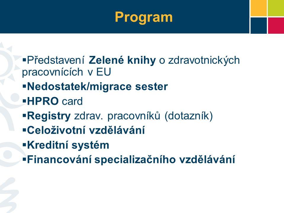 Program  Představení Zelené knihy o zdravotnických pracovnících v EU  Nedostatek/migrace sester  HPRO card  Registry zdrav.