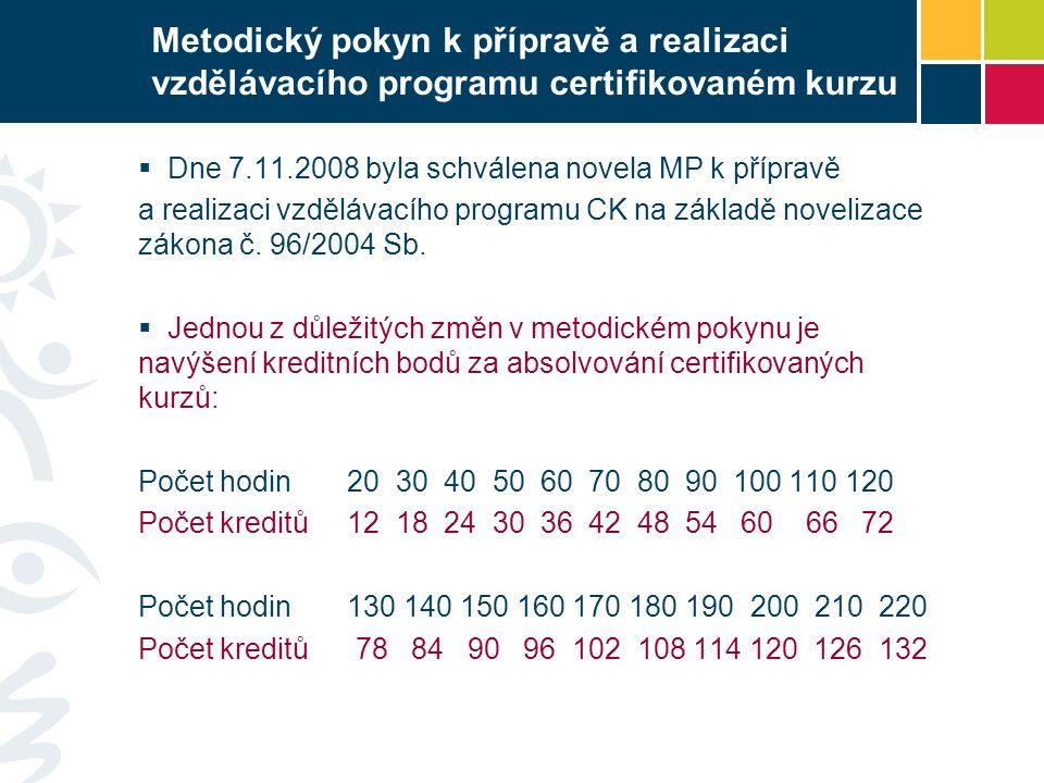 Metodický pokyn k přípravě a realizaci vzdělávacího programu certifikovaném kurzu  Dne 7.11.2008 byla schválena novela MP k přípravě a realizaci vzdělávacího programu CK na základě novelizace zákona č.