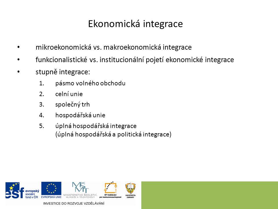 Ekonomická integrace mikroekonomická vs. makroekonomická integrace funkcionalistické vs.