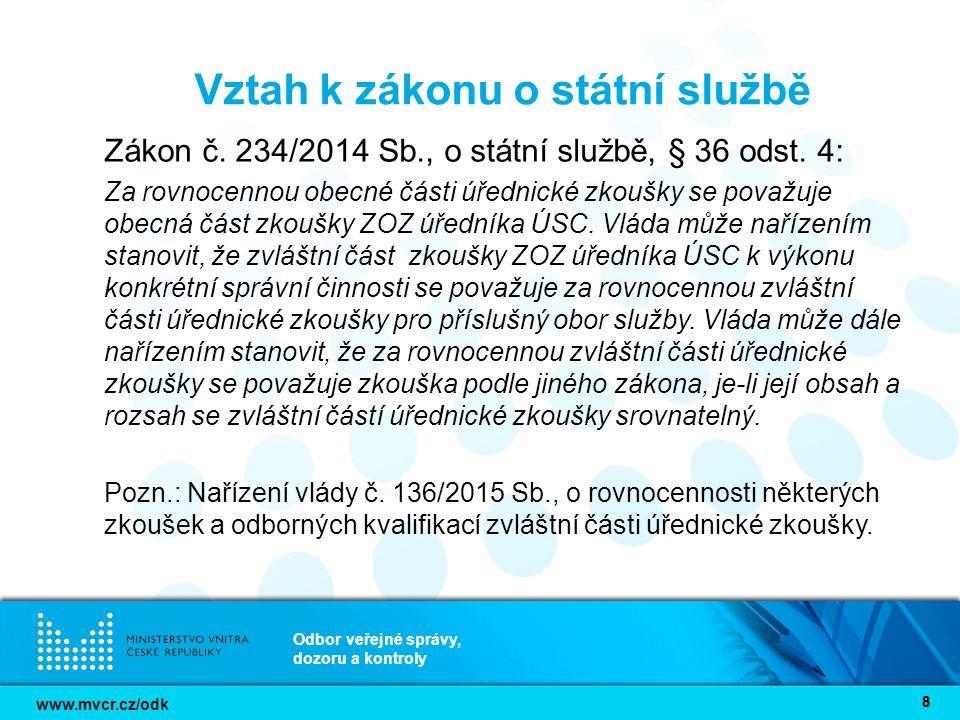 www.mvcr.cz/odk Odbor veřejné správy, dozoru a kontroly 9 Postup MV/ODK do budoucna Příprava novely prováděcí vyhlášky č.
