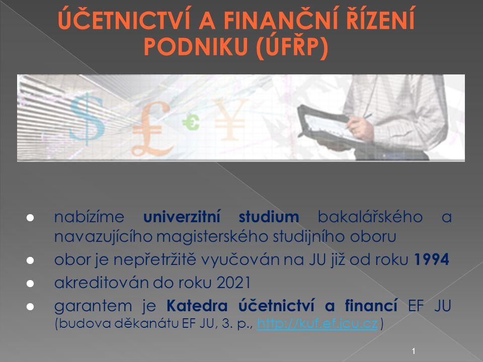 1 ÚČETNICTVÍ A FINANČNÍ ŘÍZENÍ PODNIKU (ÚFŘP) nabízíme univerzitní studium bakalářského a navazujícího magisterského studijního oboru obor je nepřetržitě vyučován na JU již od roku 1994 akreditován do roku 2021 garantem je Katedra účetnictví a financí EF JU (budova děkanátu EF JU, 3.