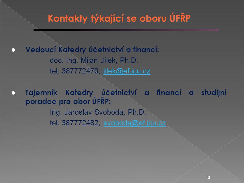 3 Kontakty týkající se oboru ÚFŘP Vedoucí Katedry účetnictví a financí: doc.