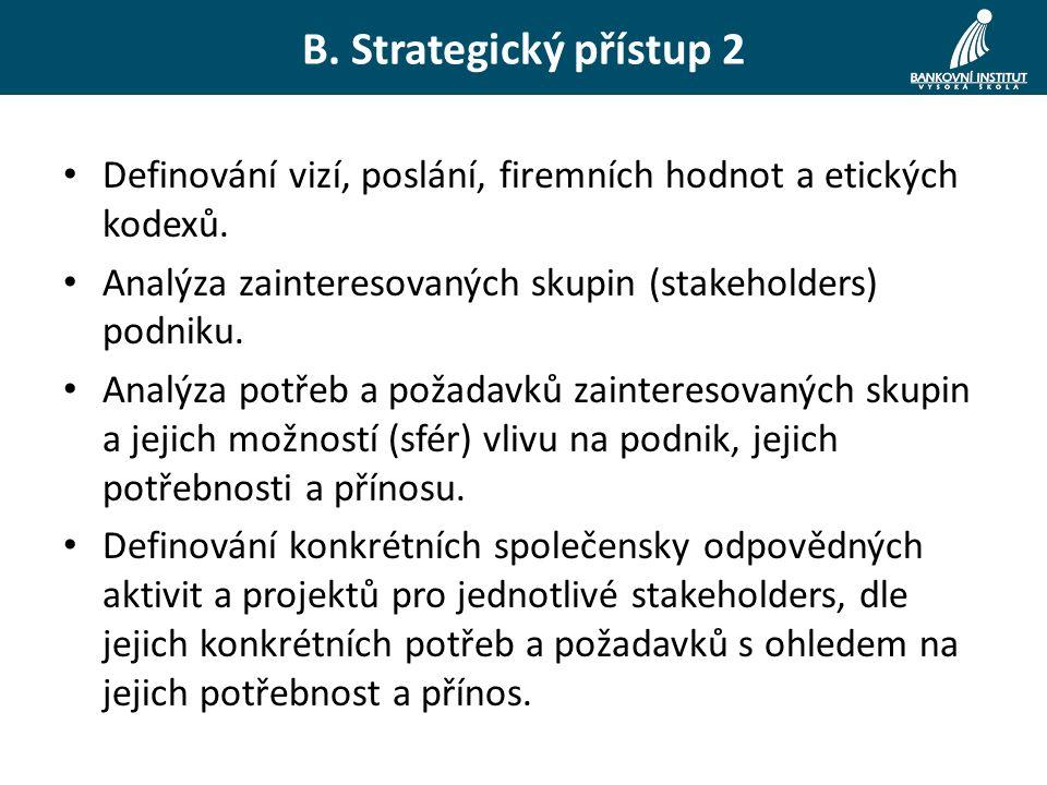 B. Strategický přístup 2 Definování vizí, poslání, firemních hodnot a etických kodexů.