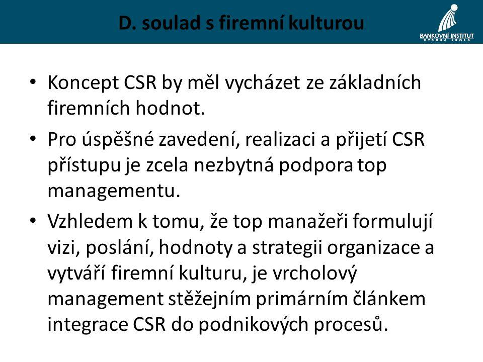 D. soulad s firemní kulturou Koncept CSR by měl vycházet ze základních firemních hodnot.