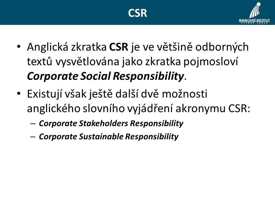 CSR Anglická zkratka CSR je ve většině odborných textů vysvětlována jako zkratka pojmosloví Corporate Social Responsibility.