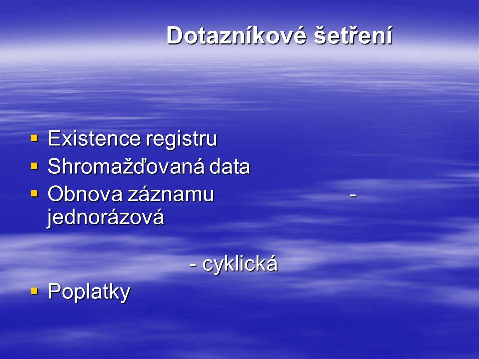 Dotazníkové šetření  Existence registru  Shromažďovaná data  Obnova záznamu- jednorázová - cyklická  Poplatky