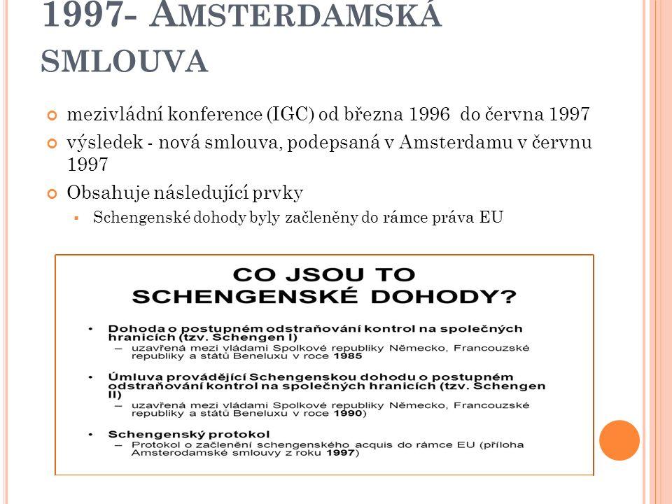 1992 - M AASTRICHTSKÁ SMLOUVA A ES Přinesla významné změny v koncepci ES  EHS přejmenováno na ES (Evropské společenství)  rozšíření oblastí společných politik, jdoucí vně ekonomické integrace (životní prostředí, věda a výzkum atd.) Posílení role Evropského parlamentu – vytvořen nový legislativní proces (spolurozhodování) vytvořena měnová politika – nové svrchované pravomoci přeneseny z členských států na Společenstvi– právní základ měnové unie