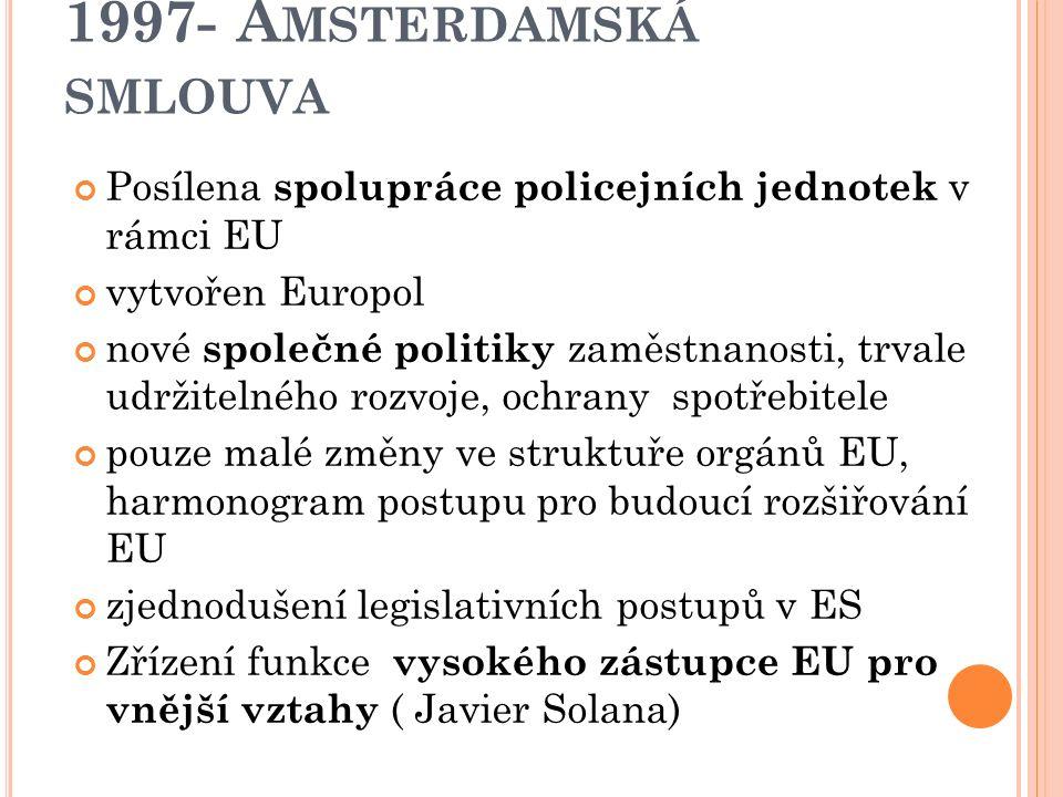 1997- A MSTERDAMSKÁ SMLOUVA mezivládní konference (IGC) od března 1996 do června 1997 výsledek - nová smlouva, podepsaná v Amsterdamu v červnu 1997 Obsahuje následující prvky  Schengenské dohody byly začleněny do rámce práva EU