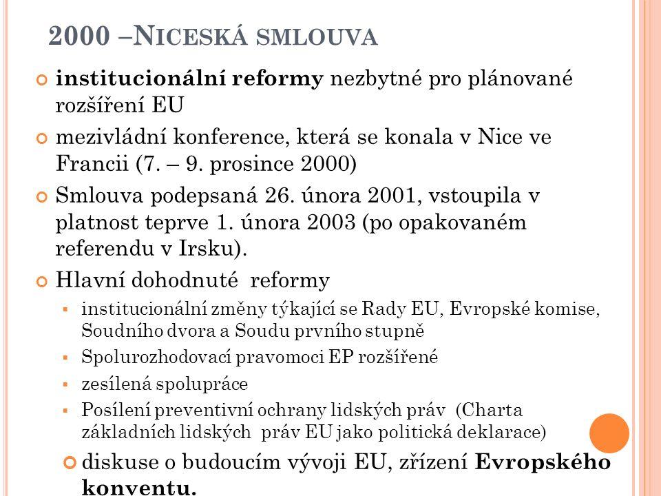 1997- A MSTERDAMSKÁ SMLOUVA Posílena spolupráce policejních jednotek v rámci EU vytvořen Europol nové společné politiky zaměstnanosti, trvale udržitelného rozvoje, ochrany spotřebitele pouze malé změny ve struktuře orgánů EU, harmonogram postupu pro budoucí rozšiřování EU zjednodušení legislativních postupů v ES Zřízení funkce vysokého zástupce EU pro vnější vztahy ( Javier Solana)