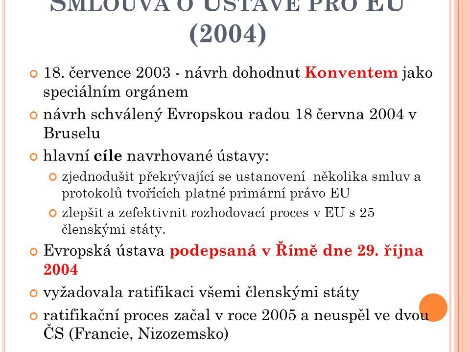 """R OZŠÍŘENÍ EU V ROCE 2004 Smlouvy o přistoupení 2003 Jejich ratifikace v zemích EU jako """"balík"""" vstoupily v platnost dne 1. května 2004 Změnily se sml"""