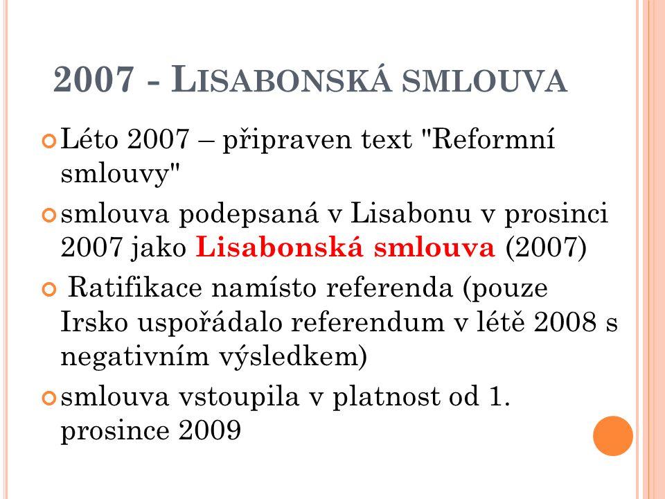R OZŠÍŘENÍ V ROCE 2007 zvýšil se počet členů v orgánech EU (ESD, Komise) procesu rozšiřování se uzavřel až do doby dohodnutí nové revize Smlouvy ES limity vyplývající ze smlouvy z Nice (2000)