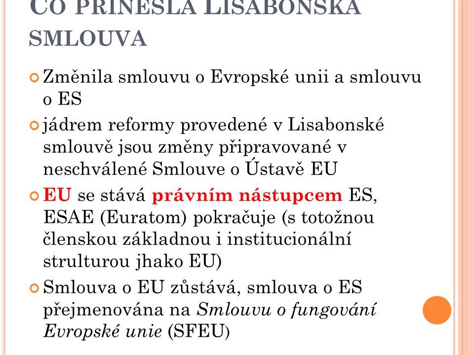 2007 - L ISABONSKÁ SMLOUVA Léto 2007 – připraven text Reformní smlouvy smlouva podepsaná v Lisabonu v prosinci 2007 jako Lisabonská smlouva (2007) Ratifikace namísto referenda (pouze Irsko uspořádalo referendum v létě 2008 s negativním výsledkem) smlouva vstoupila v platnost od 1.