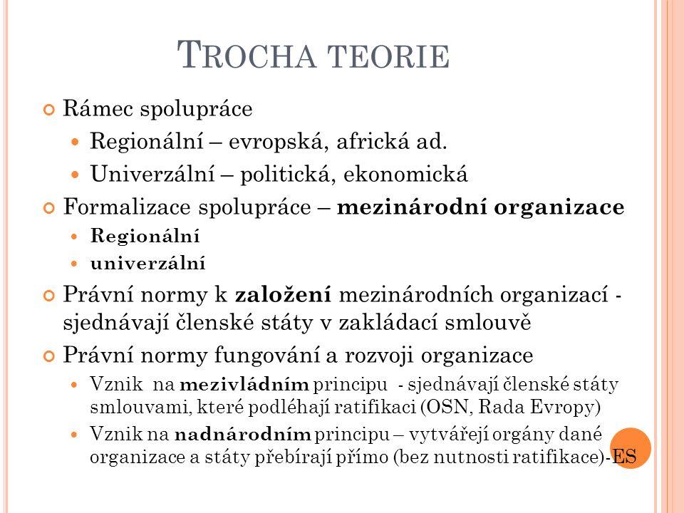 T ROCHA TEORIE Státy – nositelé státní svrchovanosti (suverenity) Spolupráce (koexistence) mezi státy v rámci mezinárodního společenství Právní normy