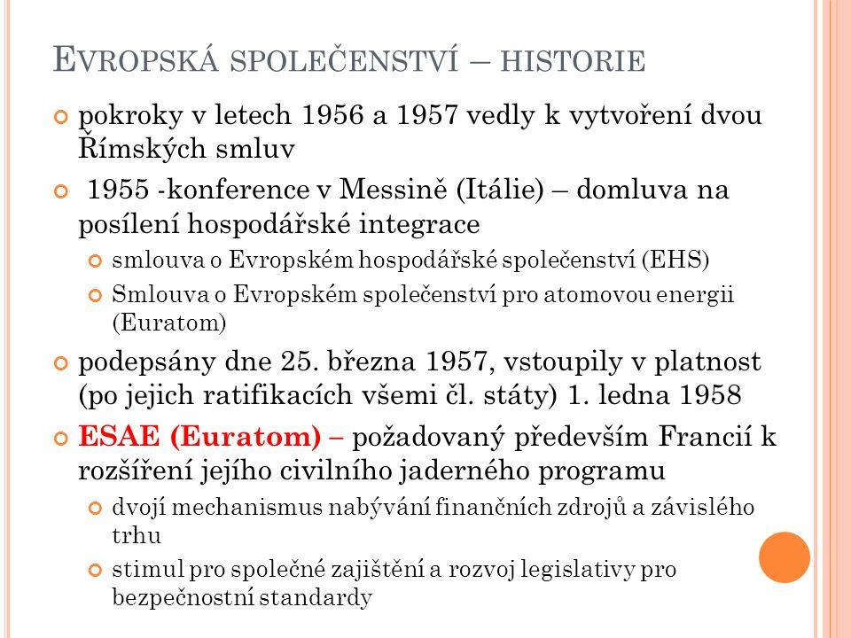 E VROPSKÁ SPOLEČENSTVÍ – HISTORIE pokroky v letech 1956 a 1957 vedly k vytvoření dvou Římských smluv 1955 -konference v Messině (Itálie) – domluva na posílení hospodářské integrace smlouva o Evropském hospodářské společenství (EHS) Smlouva o Evropském společenství pro atomovou energii (Euratom) podepsány dne 25.