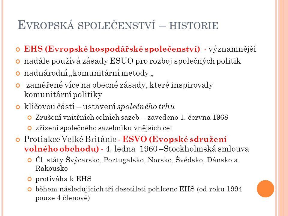 E VROPSKÁ SPOLEČENSTVÍ – HISTORIE pokroky v letech 1956 a 1957 vedly k vytvoření dvou Římských smluv 1955 -konference v Messině (Itálie) – domluva na