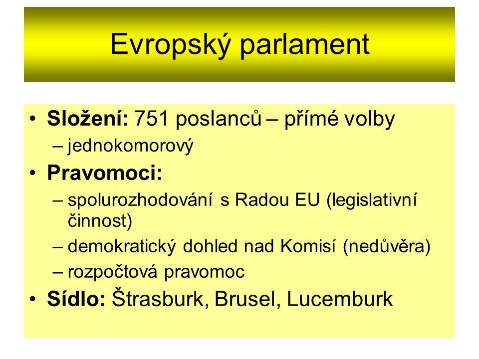 Evropský parlament Složení: 751 poslanců – přímé volby –jednokomorový Pravomoci: –spolurozhodování s Radou EU (legislativní činnost) –demokratický doh